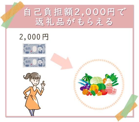 自己負担額2,000円で返礼品がもらえる