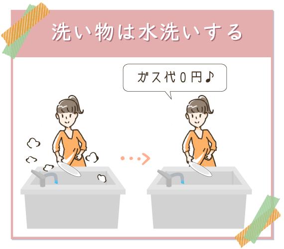洗い物は水洗いにして節ガス