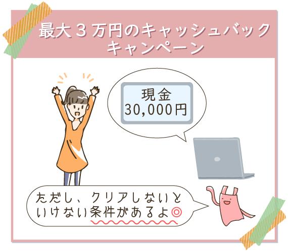 最大3万円のキャッシュバックキャンペーンがある