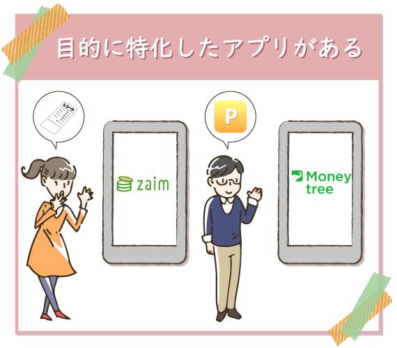 家計簿アプリは貯金やポイント管理など、目的に特化したアプリもある