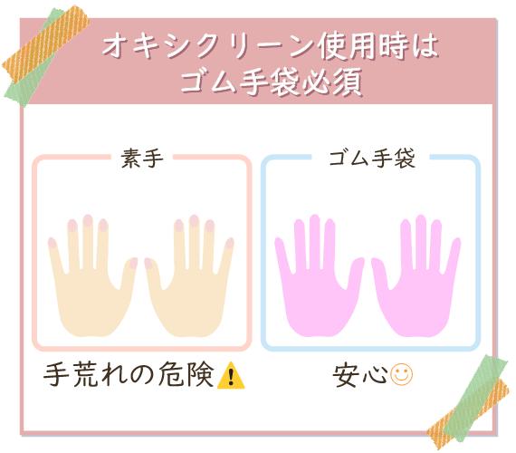 素手でオキシクリーンを使うと手荒れの危険があるのでゴム手袋をすると安心
