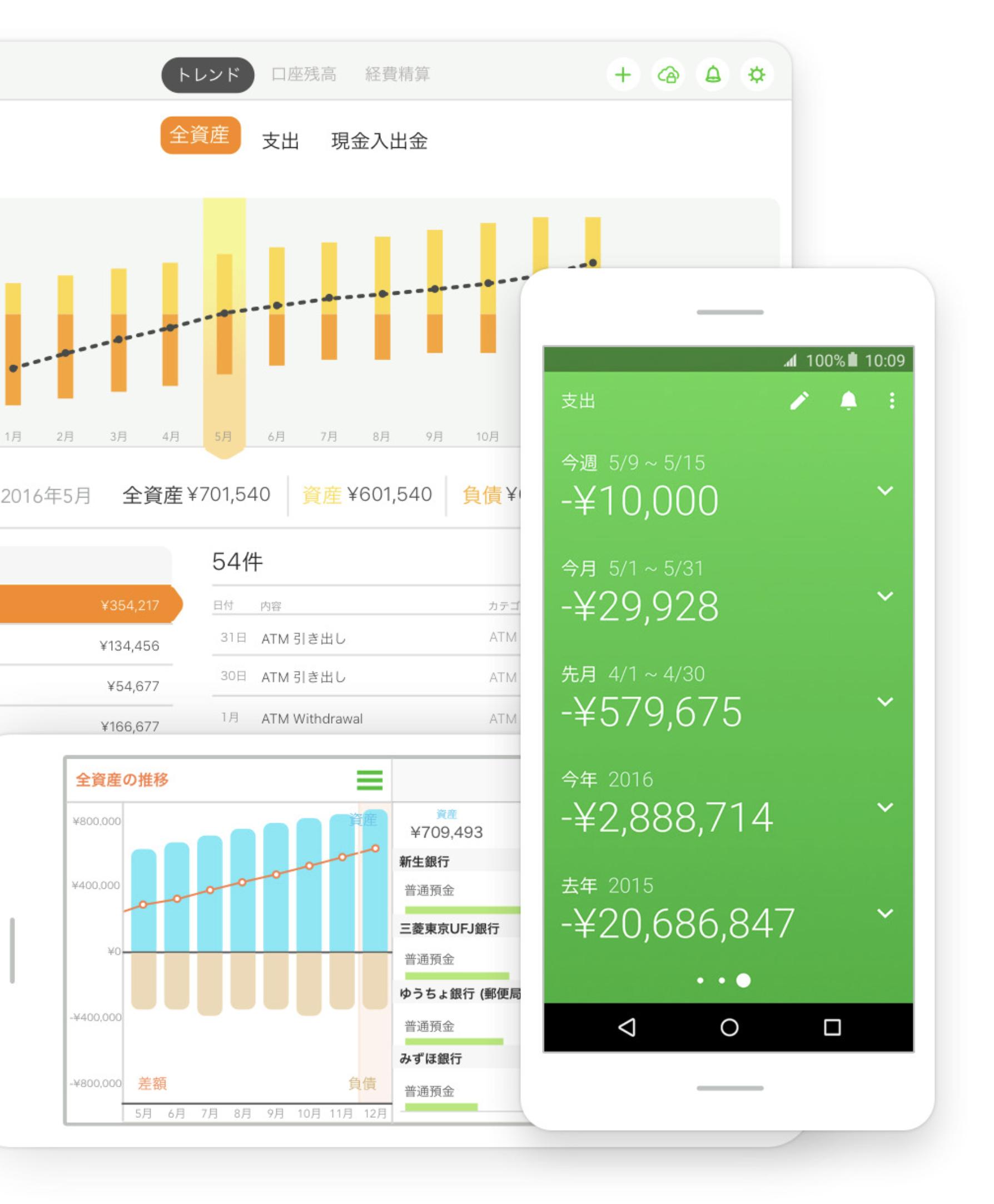 家計簿アプリなら一目で家計の変動状況を確認できる