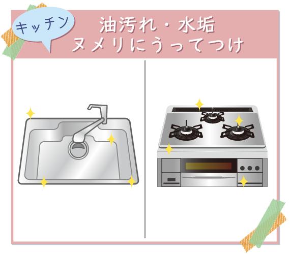 ウタマロクリーナーは、油汚れや水垢、ヌメりなどキッチンの汚れに効果抜群!