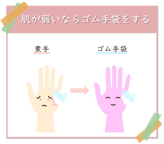 ウタマロクリーナーを使う時、肌が弱い人はゴム手袋を着用する。