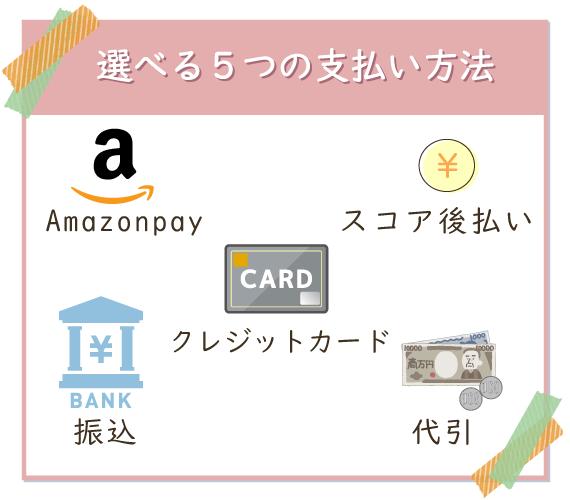 クレジットカードはもちろん、5つの支払い方法から選べる