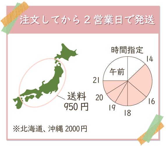 送料は離島以外は950円、注文してから2営業日で発送してくれる