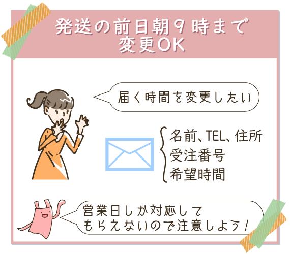 博多久松は発送の前日朝までならメールでも変更可能