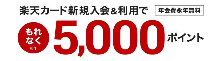 楽天カード新規入会&利用で5,000ポイントプレゼント