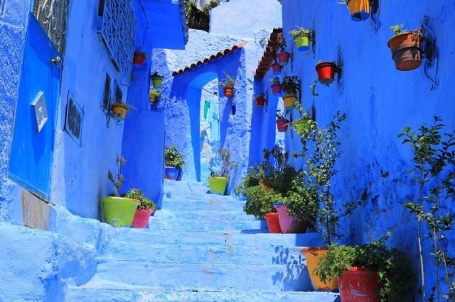シャウエンの青い市街地の写真