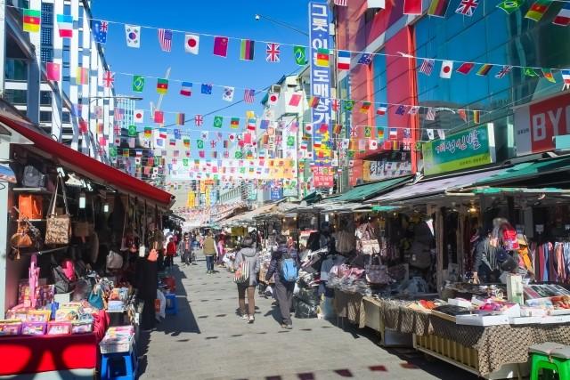 韓国の市場の写真