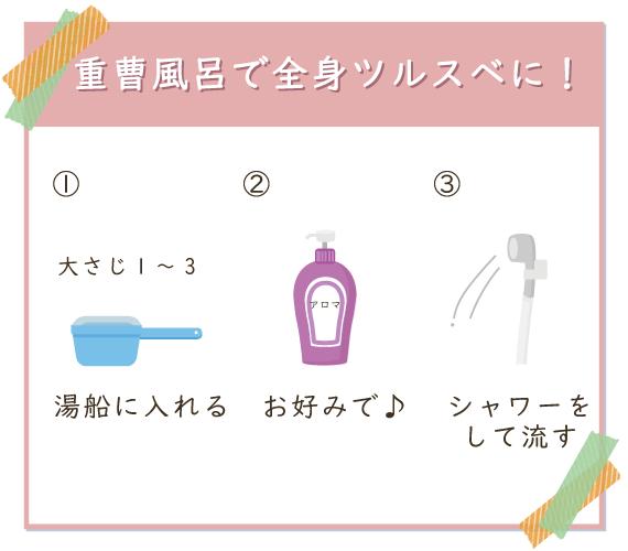 重曹風呂は重曹を大さじ1~3杯湯船に入れ、好みでアロマを垂らし最後はシャワーをする
