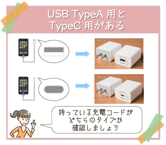 USB TypeA用とTypeC用の2種類ある